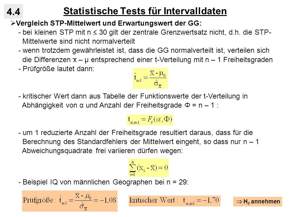 Statistische Tests für Intervalldaten 4.4 Vergleich STP-Mittelwert und Erwartungswert der GG: - bei kleinen STP mit n 30 gilt der zentrale Grenzwertsa