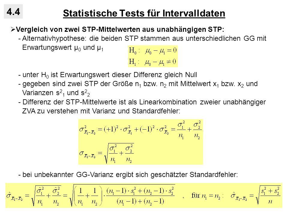Statistische Tests für Intervalldaten 4.4 Vergleich von zwei STP-Mittelwerten aus unabhängigen STP: - Alternativhypothese: die beiden STP stammen aus