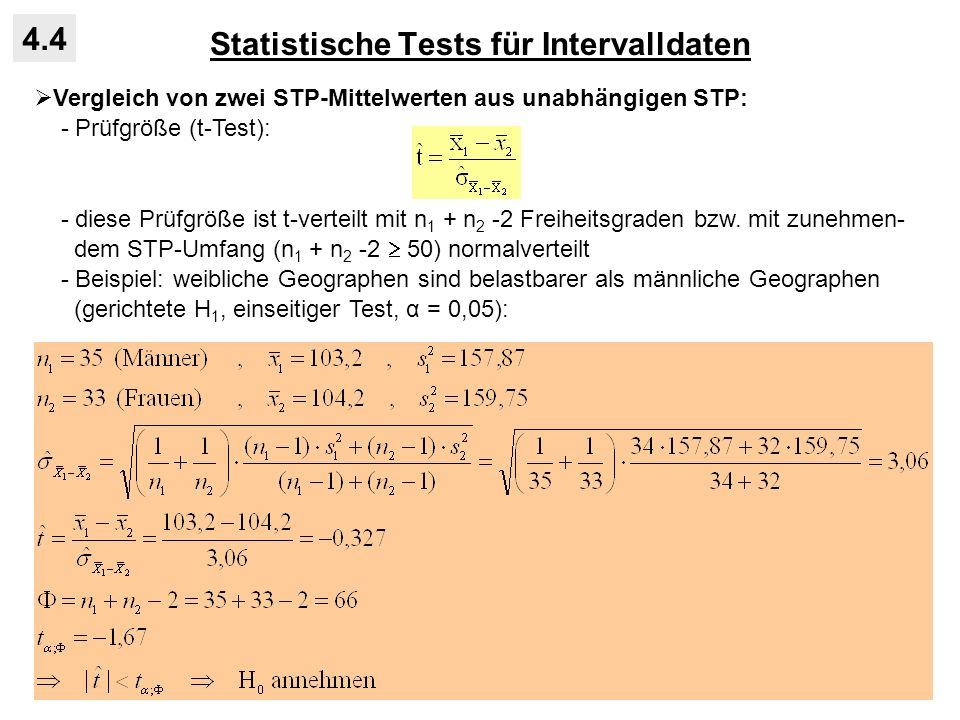 Statistische Tests für Intervalldaten 4.4 Vergleich von zwei STP-Mittelwerten aus unabhängigen STP: - Prüfgröße (t-Test): - diese Prüfgröße ist t-vert
