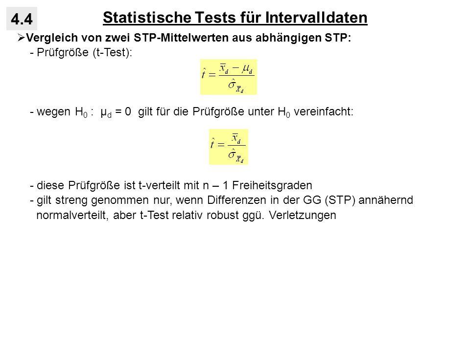 Statistische Tests für Intervalldaten 4.4 Vergleich von zwei STP-Mittelwerten aus abhängigen STP: - Prüfgröße (t-Test): - wegen H 0 : μ d = 0 gilt für