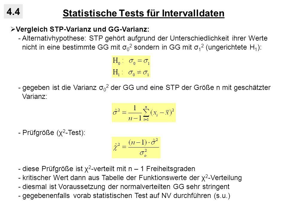 Statistische Tests für Intervalldaten 4.4 Vergleich STP-Varianz und GG-Varianz: - Alternativhypothese: STP gehört aufgrund der Unterschiedlichkeit ihr