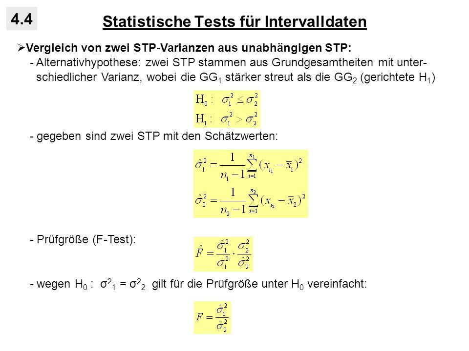 Statistische Tests für Intervalldaten 4.4 Vergleich von zwei STP-Varianzen aus unabhängigen STP: - Alternativhypothese: zwei STP stammen aus Grundgesa
