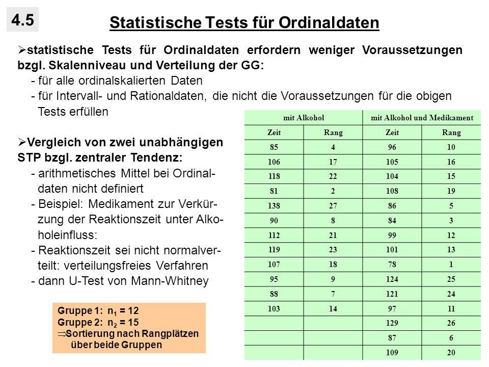 Statistische Tests für Ordinaldaten 4.5 statistische Tests für Ordinaldaten erfordern weniger Voraussetzungen bzgl. Skalenniveau und Verteilung der GG