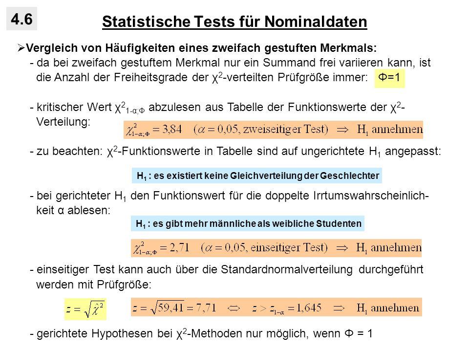 Statistische Tests für Nominaldaten 4.6 Vergleich von Häufigkeiten eines zweifach gestuften Merkmals: - da bei zweifach gestuftem Merkmal nur ein Summ