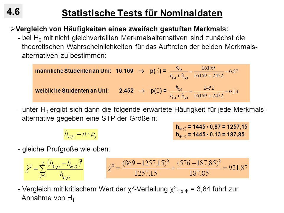 Statistische Tests für Nominaldaten 4.6 Vergleich von Häufigkeiten eines zweifach gestuften Merkmals: - bei H 0 mit nicht gleichverteilten Merkmalsalt