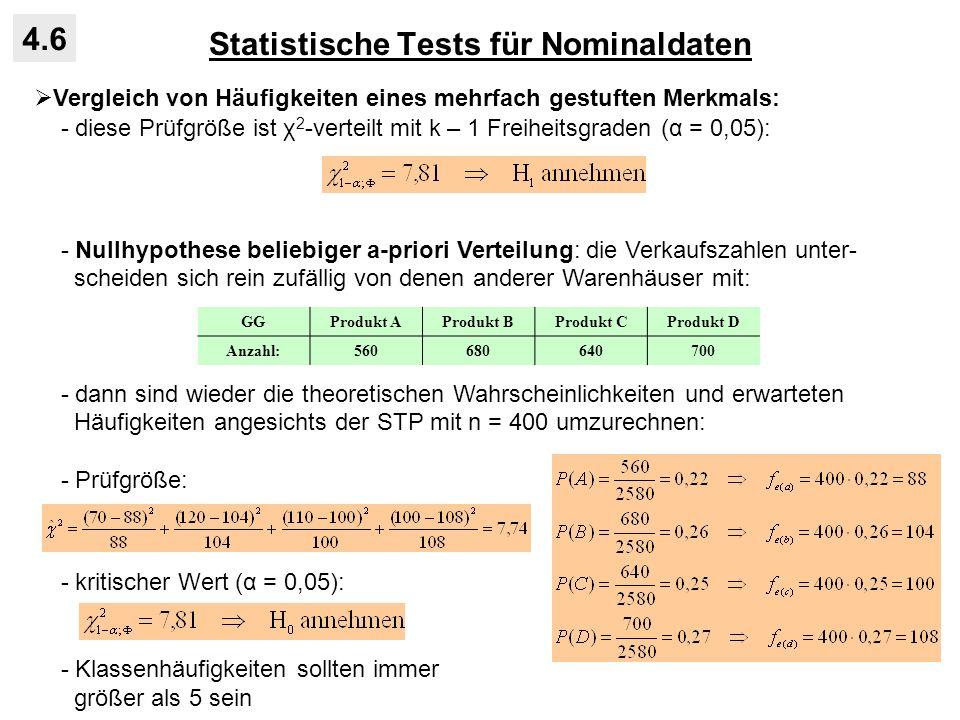 Statistische Tests für Nominaldaten 4.6 Vergleich von Häufigkeiten eines mehrfach gestuften Merkmals: - diese Prüfgröße ist χ 2 -verteilt mit k – 1 Fr