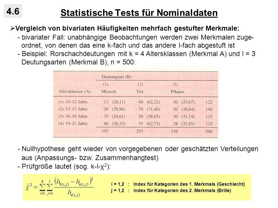Statistische Tests für Nominaldaten 4.6 Vergleich von bivariaten Häufigkeiten mehrfach gestufter Merkmale: - bivariater Fall: unabhängige Beobachtunge