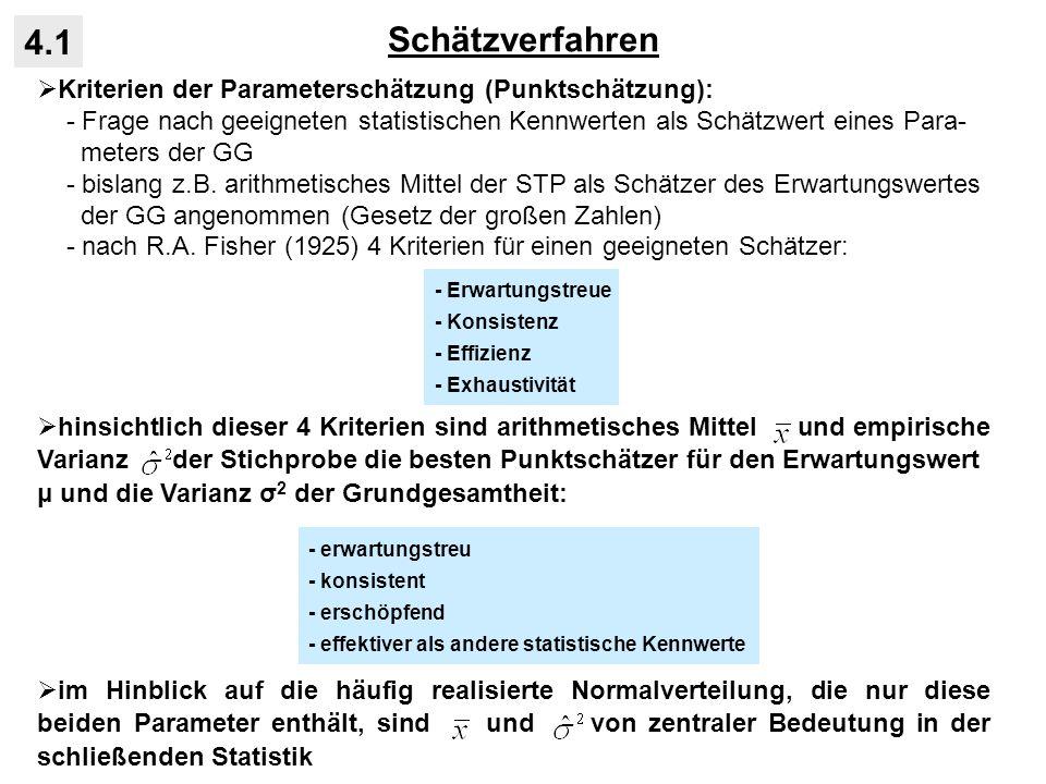 Schätzverfahren 4.1 Kriterien der Parameterschätzung (Punktschätzung): - Frage nach geeigneten statistischen Kennwerten als Schätzwert eines Para- met