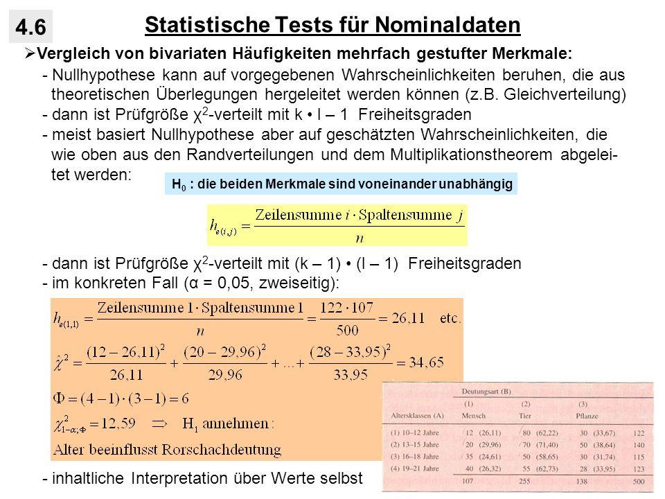 Statistische Tests für Nominaldaten 4.6 Vergleich von bivariaten Häufigkeiten mehrfach gestufter Merkmale: - Nullhypothese kann auf vorgegebenen Wahrs