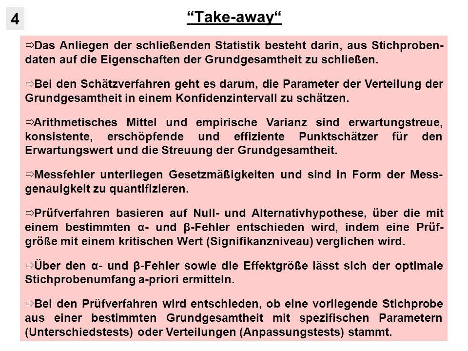 Take-away Das Anliegen der schließenden Statistik besteht darin, aus Stichproben- daten auf die Eigenschaften der Grundgesamtheit zu schließen. Bei de