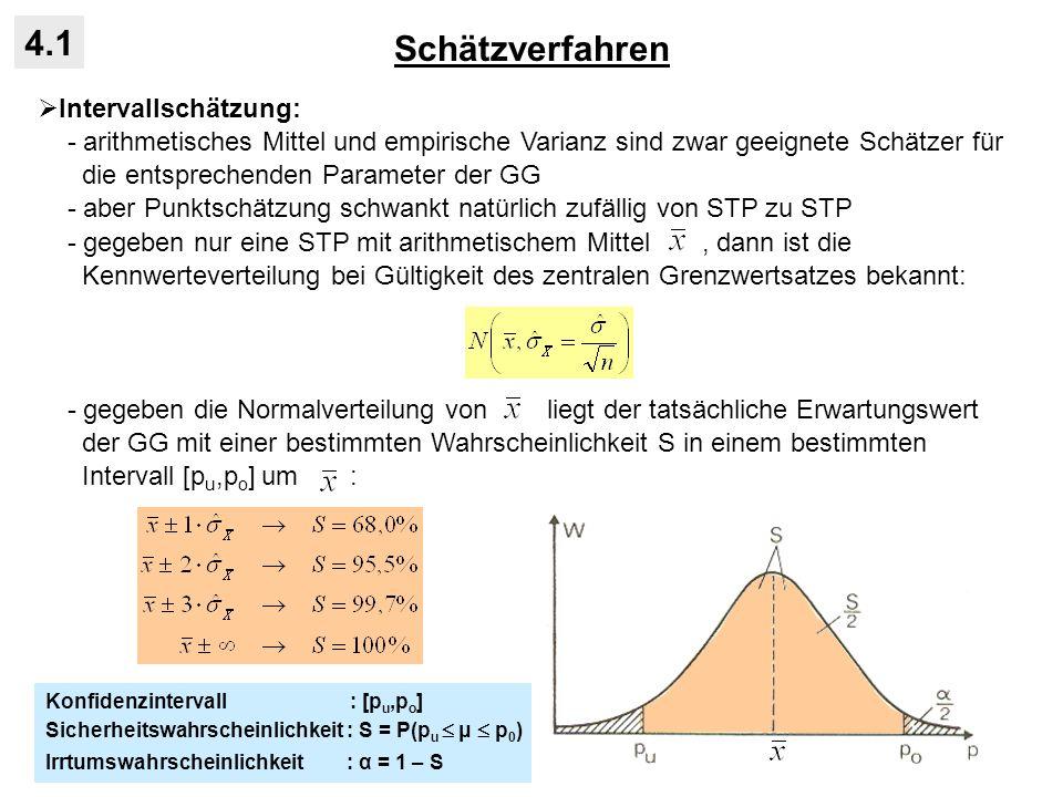Statistische Tests für Intervalldaten 4.4 Vergleich STP-Mittelwert und Erwartungswert der GG: - Alternativhypothese: Zufalls-STP gehört zu einer GG mit Erwartungswert μ 1, die von einer Referenz-GG mit E(X) = μ 0 abweicht: - Entscheidung hängt von der Differenz ab - bei hinreichend großen STP sind STP-Mittel unter der H 0 normalverteilt: - Differenz kann in Standardnormalverteilung transformiert werden: - aus Tabelle der Standardnormalverteilung wird kritischer Wert für eine vorge- gebene Irrtumswahrscheinlichkeit α bei ein- oder zweiseitigem Test abgelesen und Entscheidung getroffen: Prüfgröße: Prüfgröße jenseits des kritischen Wertes: Prüfgröße diesseits des kritischen Wertes: bei kleinen STP kann u.U.