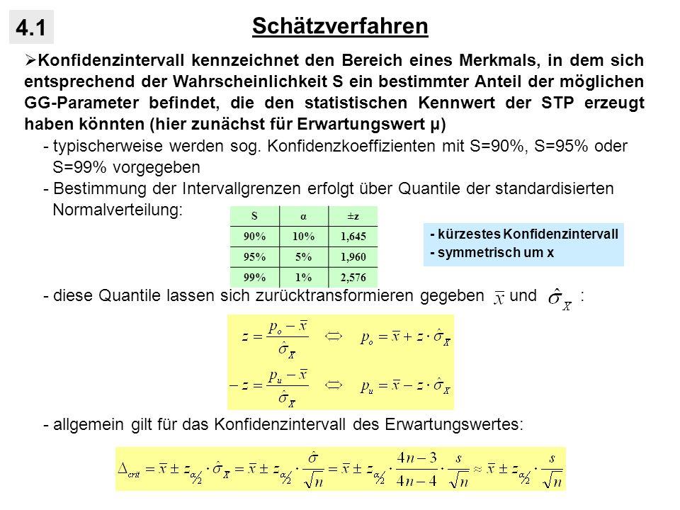 Statistische Tests für Intervalldaten 4.4 Vergleich von zwei STP-Varianzen aus unabhängigen STP: - Alternativhypothese: zwei STP stammen aus Grundgesamtheiten mit unter- schiedlicher Varianz, wobei die GG 1 stärker streut als die GG 2 (gerichtete H 1 ) - gegeben sind zwei STP mit den Schätzwerten: - Prüfgröße (F-Test): - wegen H 0 : σ 2 1 = σ 2 2 gilt für die Prüfgröße unter H 0 vereinfacht: