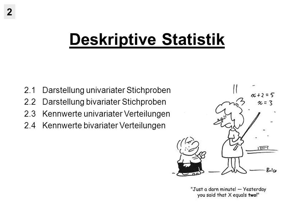 Deskriptive Statistik 2 2.1 Darstellung univariater Stichproben 2.2 Darstellung bivariater Stichproben 2.3 Kennwerte univariater Verteilungen 2.4 Kennwerte bivariater Verteilungen