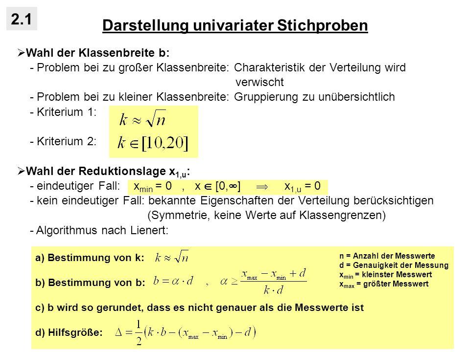 Darstellung univariater Stichproben 2.1 Wahl der Klassenbreite b: - Problem bei zu großer Klassenbreite: Charakteristik der Verteilung wird verwischt