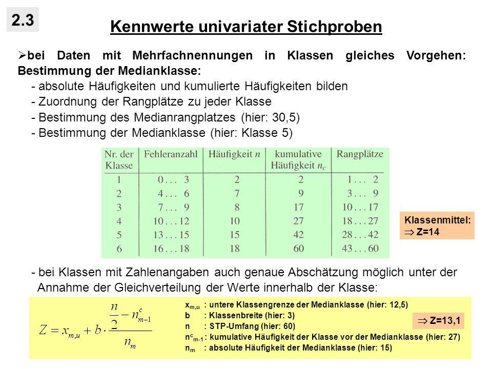 Kennwerte univariater Stichproben 2.3 bei Daten mit Mehrfachnennungen in Klassen gleiches Vorgehen: Bestimmung der Medianklasse: - absolute Häufigkeiten und kumulierte Häufigkeiten bilden - Zuordnung der Rangplätze zu jeder Klasse - Bestimmung des Medianrangplatzes (hier: 30,5) - Bestimmung der Medianklasse (hier: Klasse 5) - bei Klassen mit Zahlenangaben auch genaue Abschätzung möglich unter der Annahme der Gleichverteilung der Werte innerhalb der Klasse: x m,u : untere Klassengrenze der Medianklasse (hier: 12,5) b : Klassenbreite (hier: 3) n : STP-Umfang (hier: 60) n c m-1 : kumulative Häufigkeit der Klasse vor der Medianklasse (hier: 27) n m : absolute Häufigkeit der Medianklasse (hier: 15) Z=13,1 Klassenmittel: Z=14