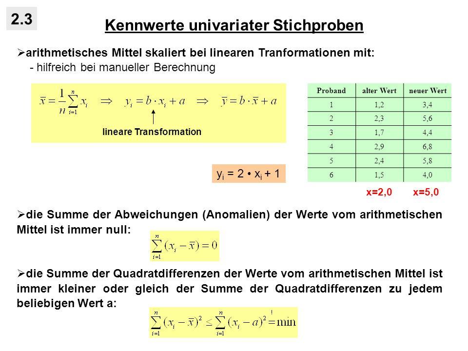 Kennwerte univariater Stichproben 2.3 arithmetisches Mittel skaliert bei linearen Tranformationen mit: - hilfreich bei manueller Berechnung die Summe der Abweichungen (Anomalien) der Werte vom arithmetischen Mittel ist immer null: die Summe der Quadratdifferenzen der Werte vom arithmetischen Mittel ist immer kleiner oder gleich der Summe der Quadratdifferenzen zu jedem beliebigen Wert a: lineare Transformation Probandalter Wertneuer Wert 11,23,4 22,35,6 31,74,4 42,96,8 52,45,8 61,54,0 x=2,0 x=5,0 y i = 2 x i + 1