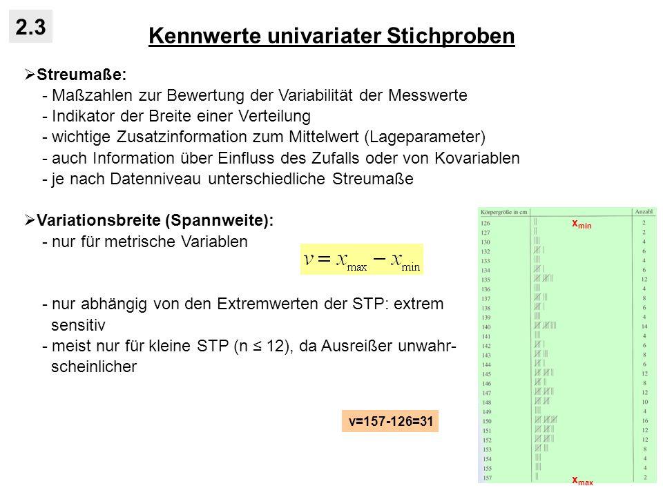 Kennwerte univariater Stichproben 2.3 Streumaße: - Maßzahlen zur Bewertung der Variabilität der Messwerte - Indikator der Breite einer Verteilung - wi