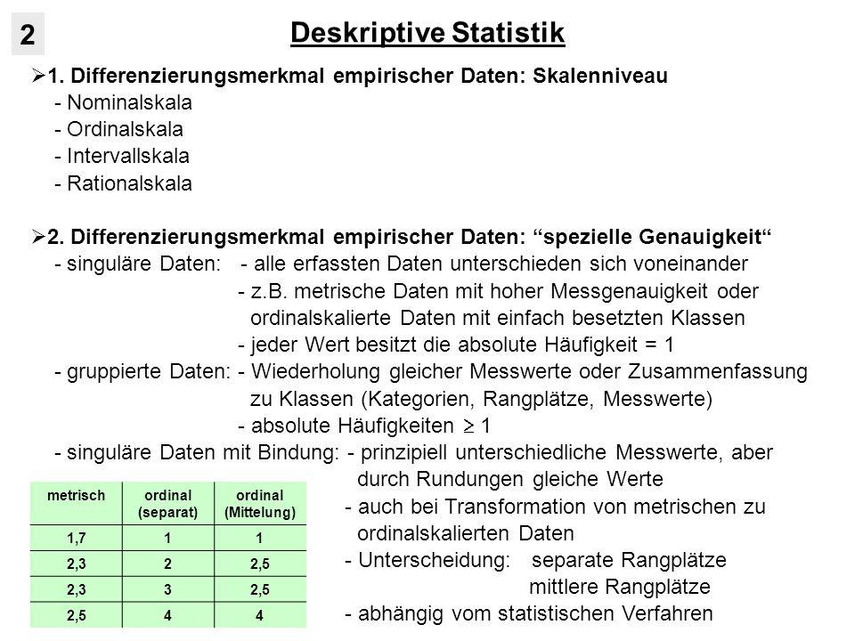 Deskriptive Statistik 2 1. Differenzierungsmerkmal empirischer Daten: Skalenniveau - Nominalskala - Ordinalskala - Intervallskala - Rationalskala 2. D