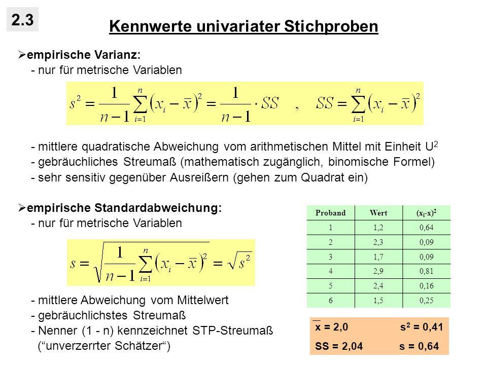 Kennwerte univariater Stichproben 2.3 empirische Varianz: - nur für metrische Variablen - mittlere quadratische Abweichung vom arithmetischen Mittel mit Einheit U 2 - gebräuchliches Streumaß (mathematisch zugänglich, binomische Formel) - sehr sensitiv gegenüber Ausreißern (gehen zum Quadrat ein) empirische Standardabweichung: - nur für metrische Variablen - mittlere Abweichung vom Mittelwert - gebräuchlichstes Streumaß - Nenner (1 - n) kennzeichnet STP-Streumaß (unverzerrter Schätzer) ProbandWert(x i -x) 2 11,20,64 22,30,09 31,70,09 42,90,81 52,40,16 61,50,25 x = 2,0 s 2 = 0,41 SS = 2,04 s = 0,64