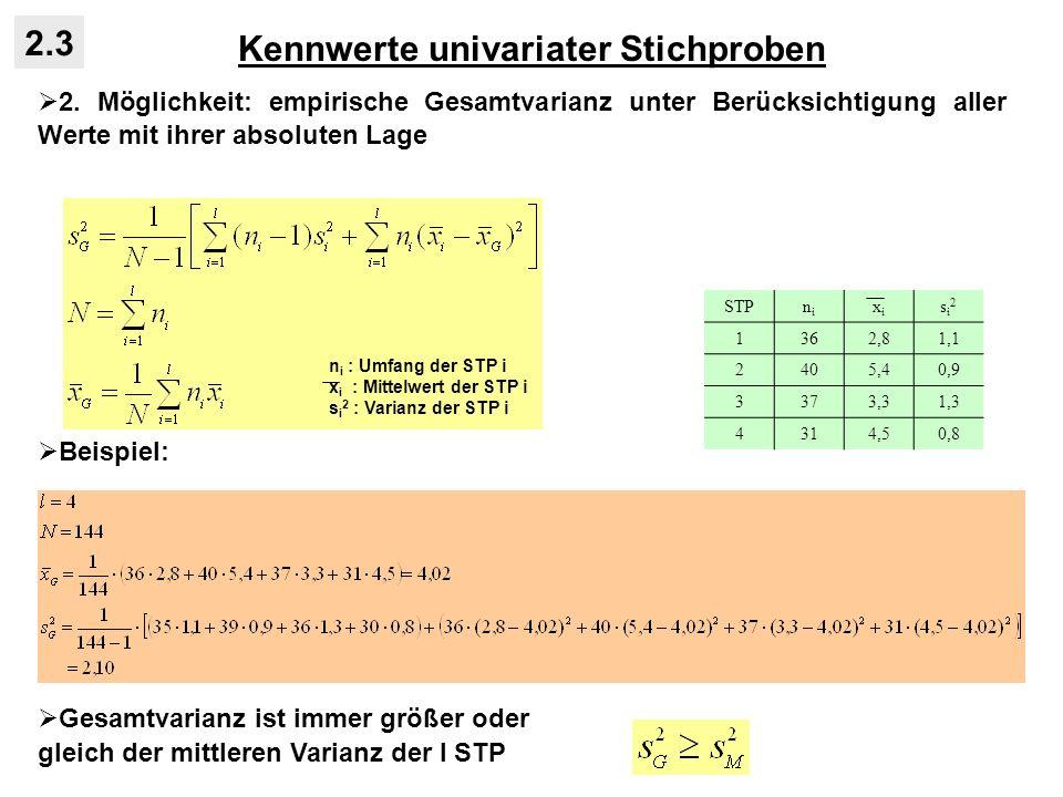 Kennwerte univariater Stichproben 2.3 2. Möglichkeit: empirische Gesamtvarianz unter Berücksichtigung aller Werte mit ihrer absoluten Lage Beispiel: G