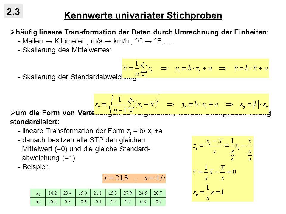 Kennwerte univariater Stichproben 2.3 häufig lineare Transformation der Daten durch Umrechnung der Einheiten: - Meilen Kilometer, m/s km/h, °C °F, … - Skalierung des Mittelwertes: - Skalierung der Standardabweichung: um die Form von Verteilungen zu vergleichen, werden Stichproben häufig standardisiert: - lineare Transformation der Form z i = b x i +a - danach besitzen alle STP den gleichen Mittelwert (=0) und die gleiche Standard- abweichung (=1) - Beispiel: xixi 18,223,419,021,115,327,924,520,7 zizi -0,80,5-0,6-0,1-1,51,70,8-0,2