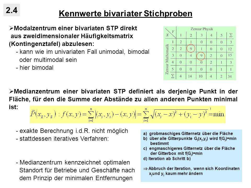 Kennwerte bivariater Stichproben 2.4 Modalzentrum einer bivariaten STP direkt aus zweidimensionaler Häufigkeitsmatrix (Kontingenztafel) abzulesen: - kann wie im univariaten Fall unimodal, bimodal oder multimodal sein - hier bimodal Medianzentrum einer bivariaten STP definiert als derjenige Punkt in der Fläche, für den die Summe der Abstände zu allen anderen Punkten minimal ist: - exakte Berechnung i.d.R.
