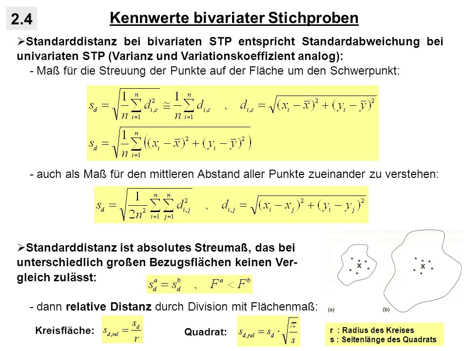 Kennwerte bivariater Stichproben 2.4 Standarddistanz bei bivariaten STP entspricht Standardabweichung bei univariaten STP (Varianz und Variationskoeffizient analog): - Maß für die Streuung der Punkte auf der Fläche um den Schwerpunkt: - auch als Maß für den mittleren Abstand aller Punkte zueinander zu verstehen: Standarddistanz ist absolutes Streumaß, das bei unterschiedlich großen Bezugsflächen keinen Ver- gleich zulässt: - dann relative Distanz durch Division mit Flächenmaß: Kreisfläche: Quadrat: r : Radius des Kreises s : Seitenlänge des Quadrats