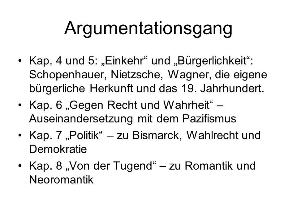 Argumentationsgang Kap. 4 und 5: Einkehr und Bürgerlichkeit: Schopenhauer, Nietzsche, Wagner, die eigene bürgerliche Herkunft und das 19. Jahrhundert.