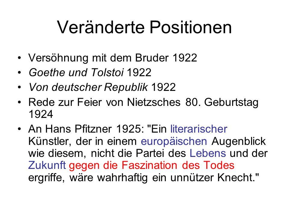 Veränderte Positionen Versöhnung mit dem Bruder 1922 Goethe und Tolstoi 1922 Von deutscher Republik 1922 Rede zur Feier von Nietzsches 80. Geburtstag