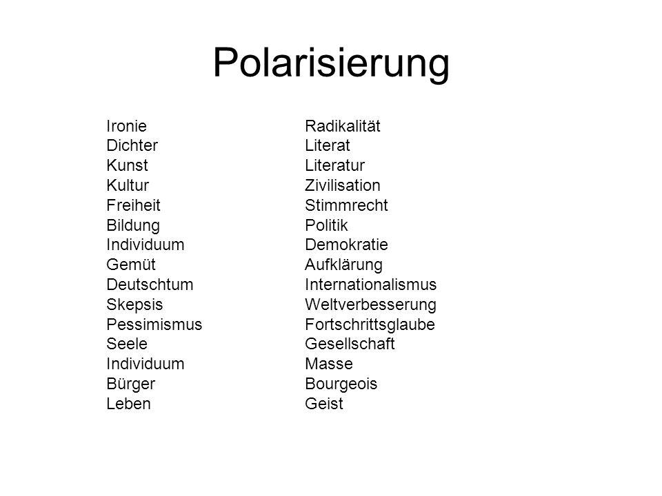Polarisierung IronieRadikalität DichterLiterat KunstLiteratur KulturZivilisation FreiheitStimmrecht BildungPolitik IndividuumDemokratie GemütAufklärun