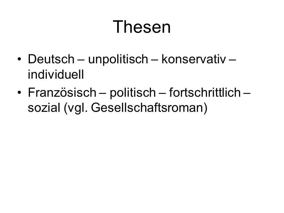 Thesen Deutsch – unpolitisch – konservativ – individuell Französisch – politisch – fortschrittlich – sozial (vgl. Gesellschaftsroman)