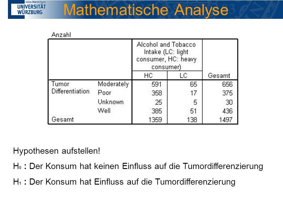 Mathematische Analyse Hypothesen aufstellen! H 0 : Der Konsum hat keinen Einfluss auf die Tumordifferenzierung H 1 : Der Konsum hat Einfluss auf die T