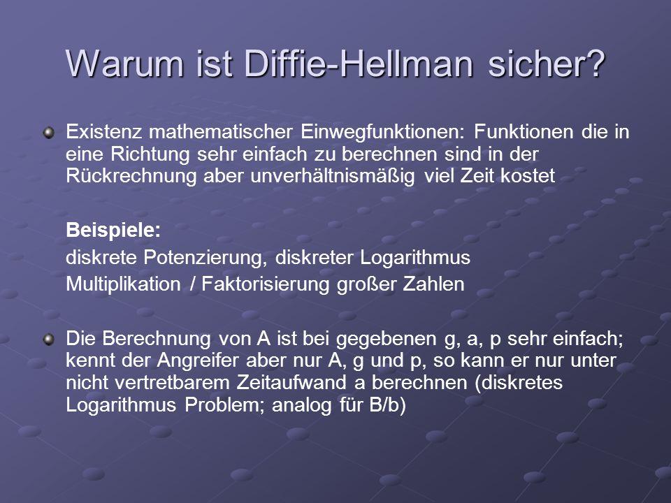 Warum ist Diffie-Hellman sicher? Existenz mathematischer Einwegfunktionen: Funktionen die in eine Richtung sehr einfach zu berechnen sind in der Rückr