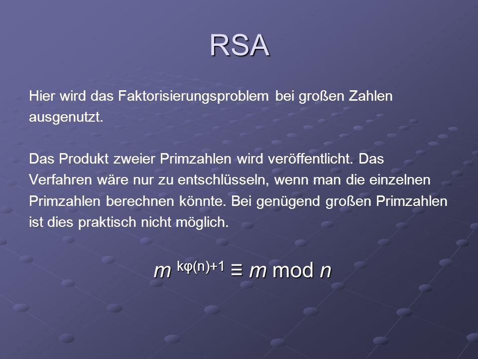 RSA Hier wird das Faktorisierungsproblem bei großen Zahlen ausgenutzt. Das Produkt zweier Primzahlen wird veröffentlicht. Das Verfahren wäre nur zu en