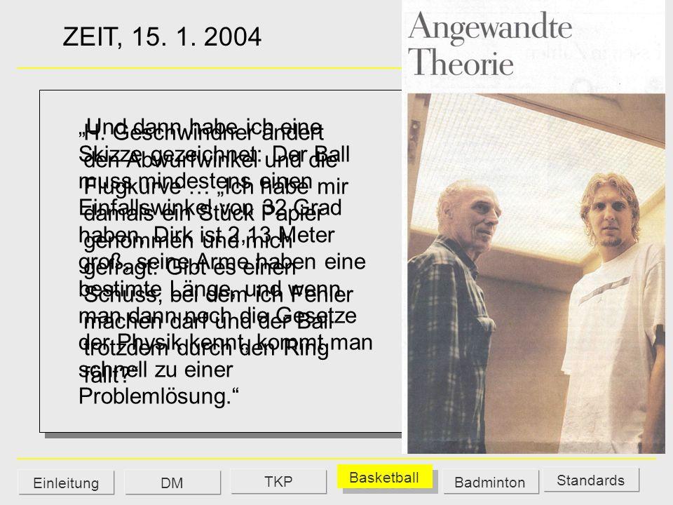 ZEIT, 15. 1. 2004 H. Geschwindner ändert den Abwurfwinkel und die Flugkurve … Ich habe mir damals ein Stück Papier genommen und mich gefragt: Gibt es