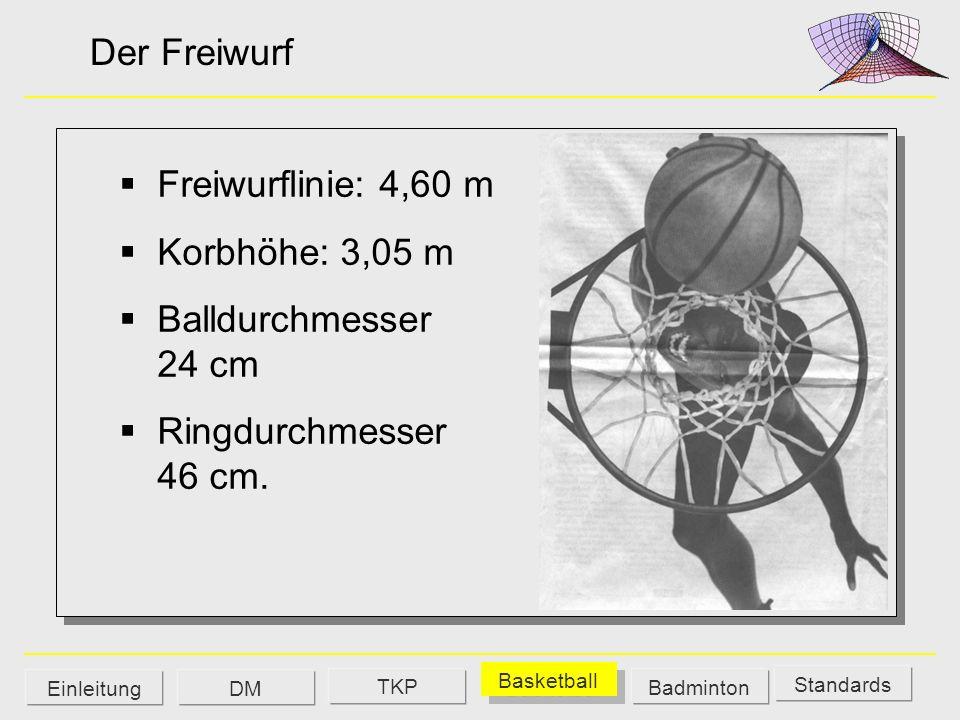 Der Freiwurf Freiwurflinie: 4,60 m Korbhöhe: 3,05 m Balldurchmesser 24 cm Ringdurchmesser 46 cm. Standards DM Basketball Badminton Einleitung TKP