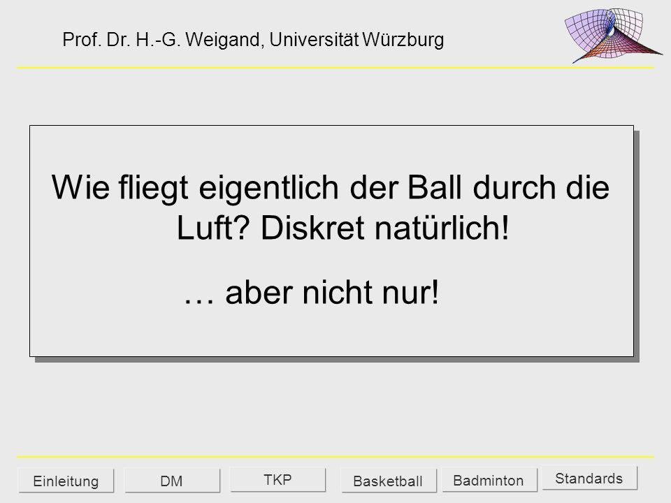 Wie fliegt eigentlich der Ball durch die Luft? Diskret natürlich! Prof. Dr. H.-G. Weigand, Universität Würzburg Standards Badminton EinleitungBasketba
