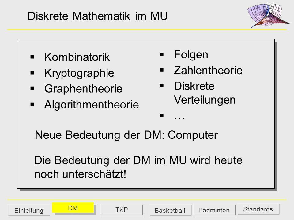 Diskrete Mathematik im MU Kombinatorik Kryptographie Graphentheorie Algorithmentheorie Neue Bedeutung der DM: Computer Die Bedeutung der DM im MU wird