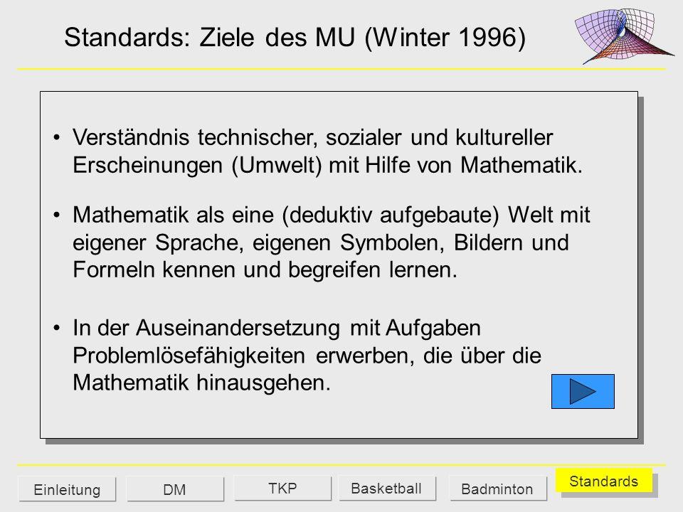 Standards: Ziele des MU (Winter 1996) Verständnis technischer, sozialer und kultureller Erscheinungen (Umwelt) mit Hilfe von Mathematik. Mathematik al