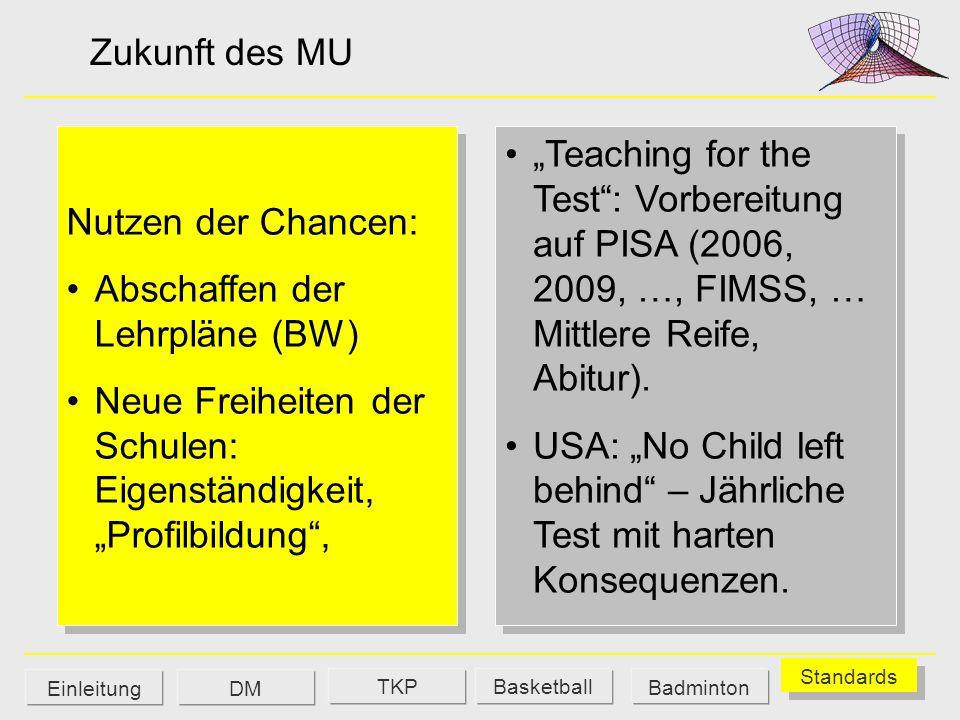 Zukunft des MU Teaching for the Test: Vorbereitung auf PISA (2006, 2009, …, FIMSS, … Mittlere Reife, Abitur). USA: No Child left behind – Jährliche Te