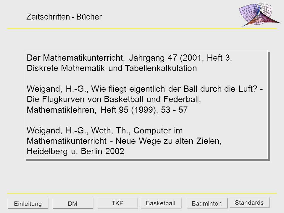 Der Mathematikunterricht, Jahrgang 47 (2001, Heft 3, Diskrete Mathematik und Tabellenkalkulation Weigand, H.-G., Wie fliegt eigentlich der Ball durch