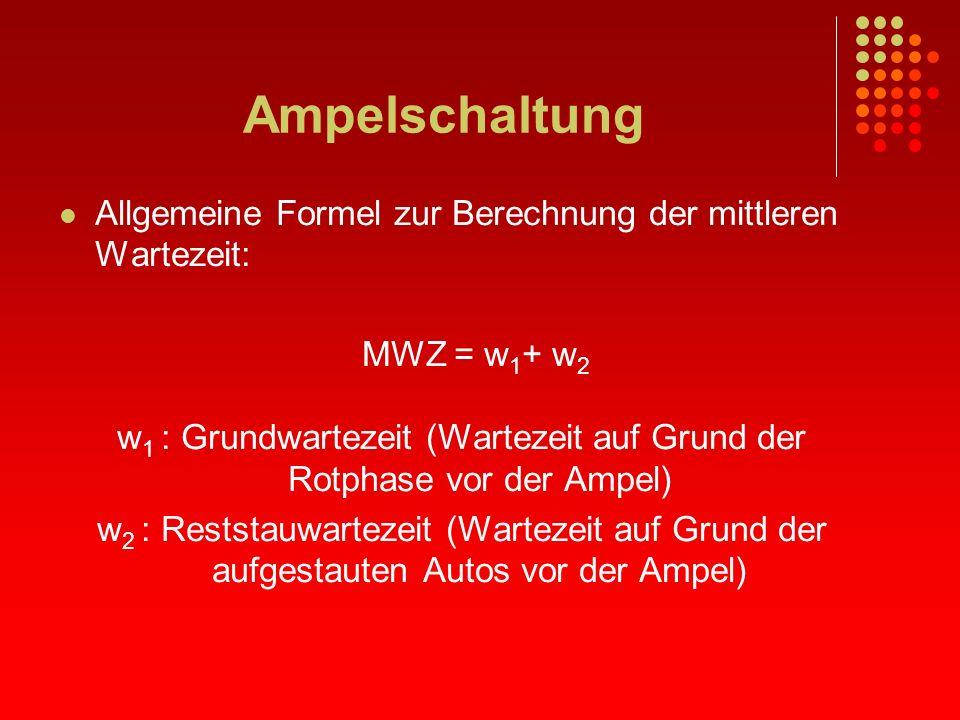 Ampelschaltung Allgemeine Formel zur Berechnung der mittleren Wartezeit: MWZ = w 1 + w 2 w 1 : Grundwartezeit (Wartezeit auf Grund der Rotphase vor de