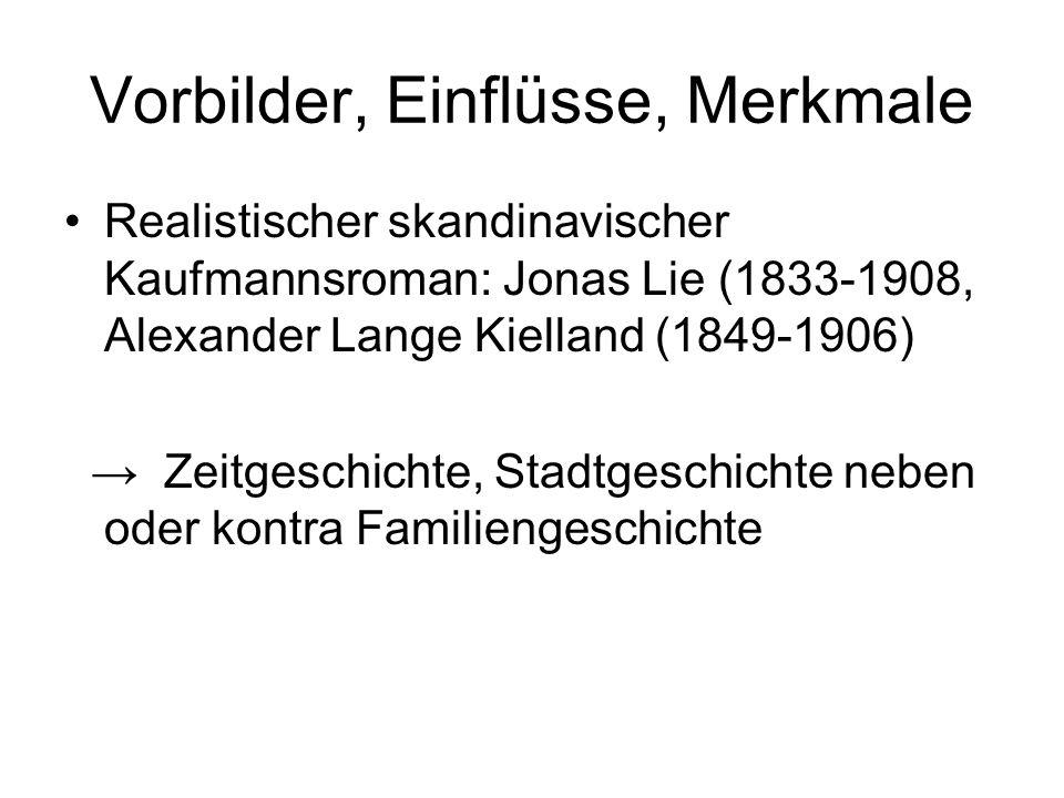 Vorbilder, Einflüsse, Merkmale Realistischer skandinavischer Kaufmannsroman: Jonas Lie (1833-1908, Alexander Lange Kielland (1849-1906) Zeitgeschichte