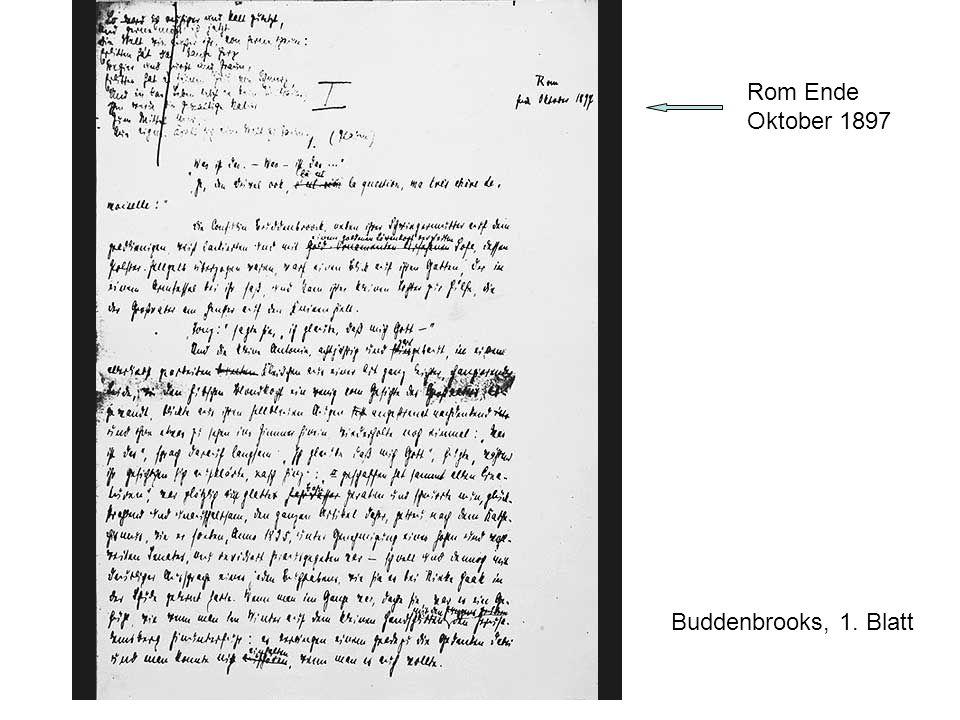 Rom Ende Oktober 1897 Buddenbrooks, 1. Blatt