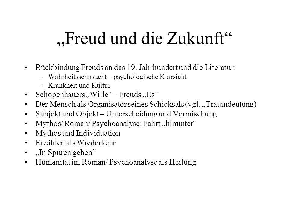 Freud und die Zukunft Rückbindung Freuds an das 19. Jahrhundert und die Literatur: –Wahrheitssehnsucht – psychologische Klarsicht –Krankheit und Kultu