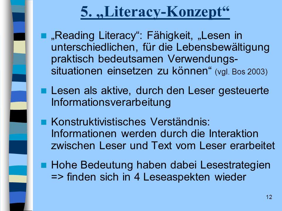 12 5. Literacy-Konzept Reading Literacy: Fähigkeit, Lesen in unterschiedlichen, für die Lebensbewältigung praktisch bedeutsamen Verwendungs- situation