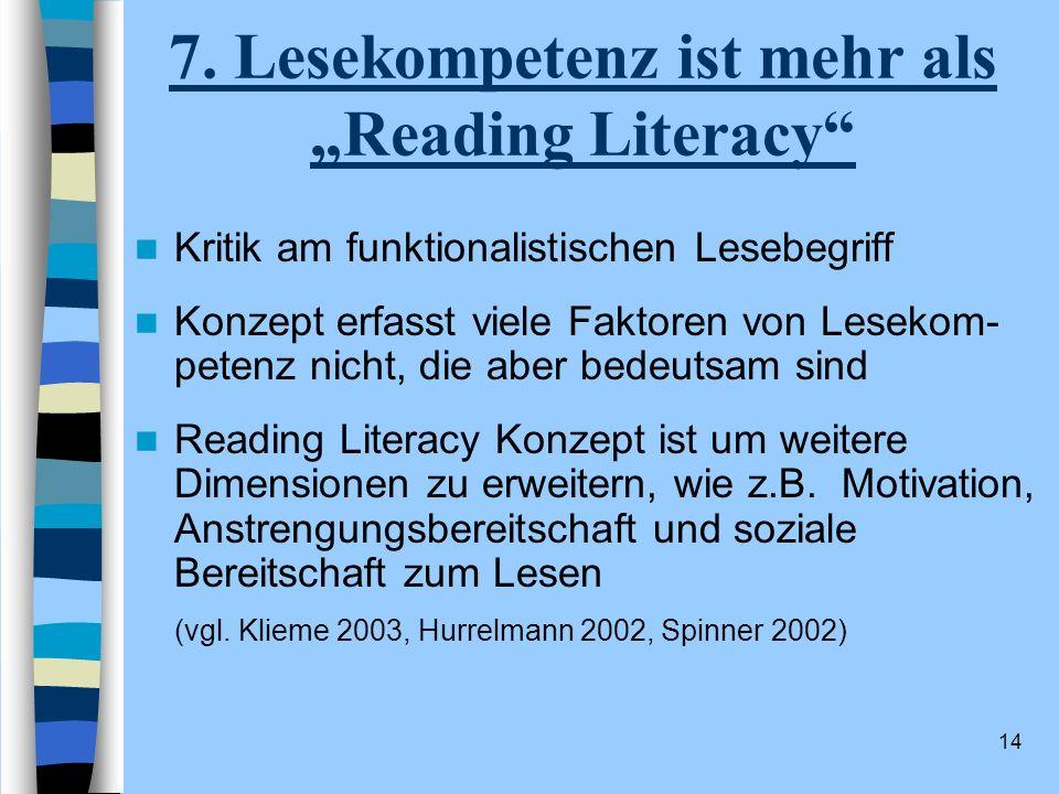 14 7. Lesekompetenz ist mehr als Reading Literacy Kritik am funktionalistischen Lesebegriff Konzept erfasst viele Faktoren von Lesekom- petenz nicht,