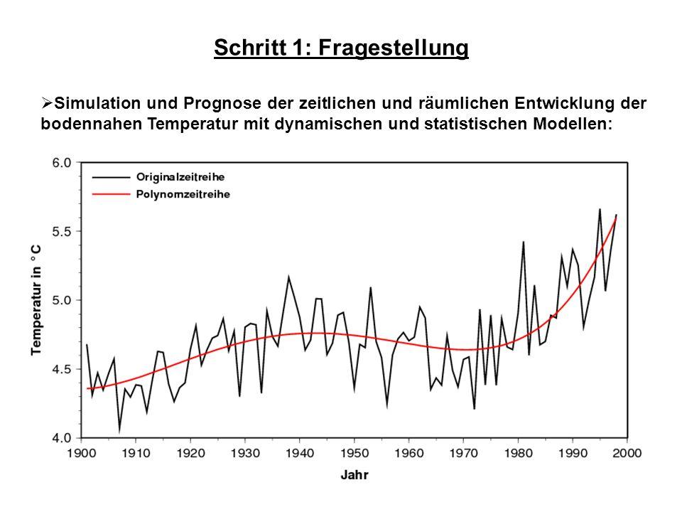 Schritt 1: Fragestellung Simulation und Prognose der zeitlichen und räumlichen Entwicklung der bodennahen Temperatur mit dynamischen und statistischen