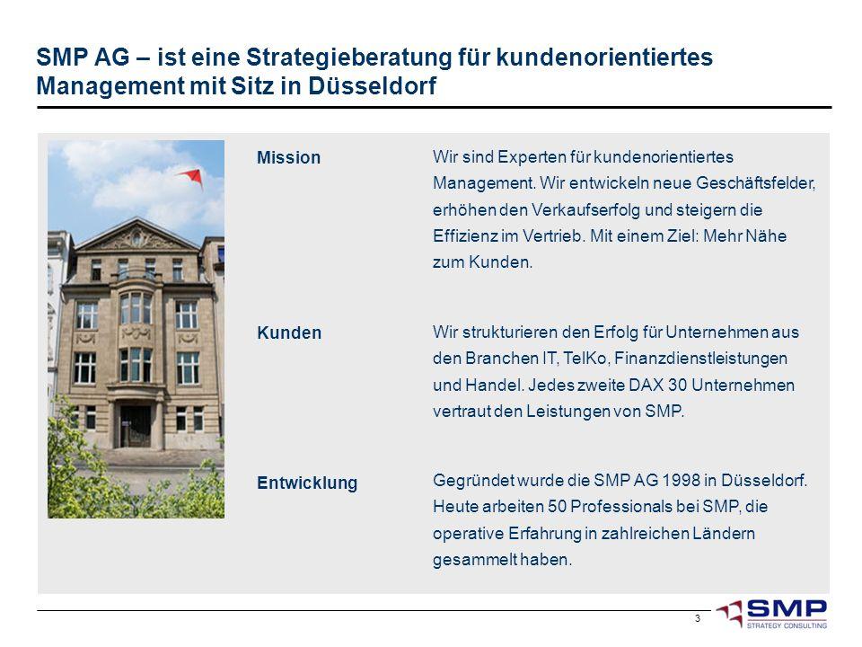 3 SMP AG – ist eine Strategieberatung für kundenorientiertes Management mit Sitz in Düsseldorf Gegründet wurde die SMP AG 1998 in Düsseldorf. Heute ar