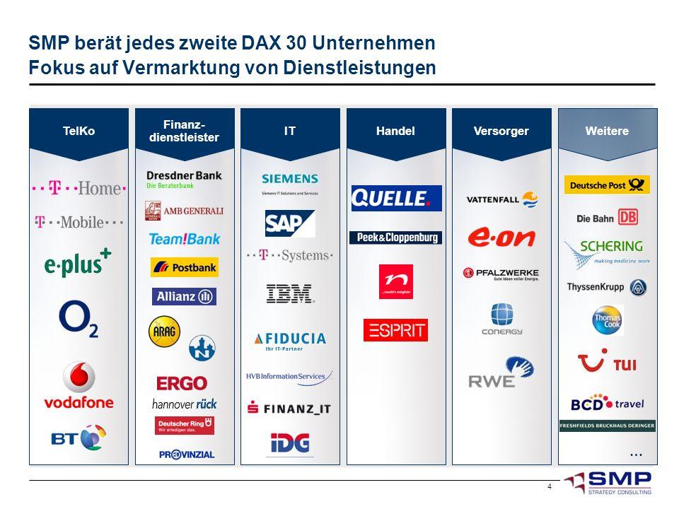 4 SMP berät jedes zweite DAX 30 Unternehmen Fokus auf Vermarktung von Dienstleistungen Weitere Finanz- dienstleister IT … Versorger Handel TelKo